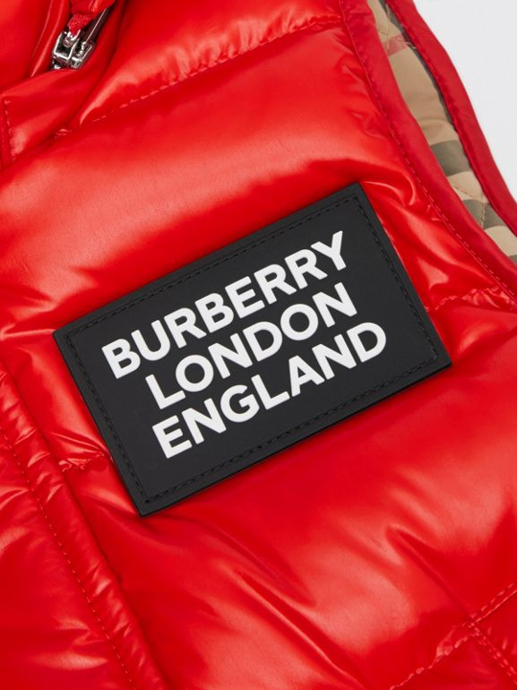 Detachable Hood Nylon Puffer Gilet in Pillar Box Red | Burberry Canada - cell image 1
