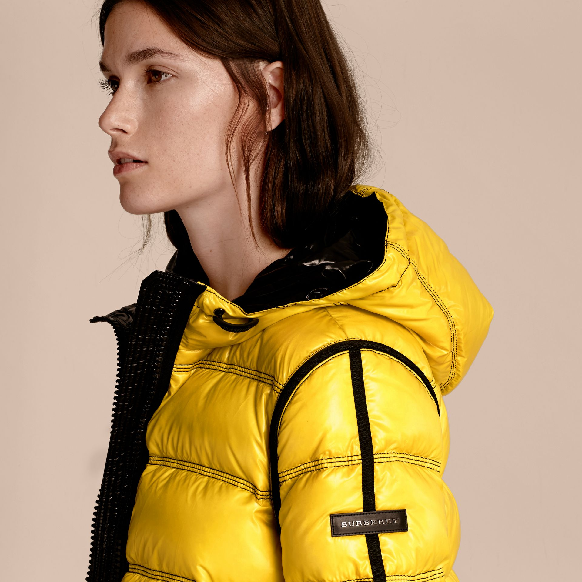Cornflower yellow Glossy Hooded Puffer Jacket with Sporty Detailing - gallery image 5