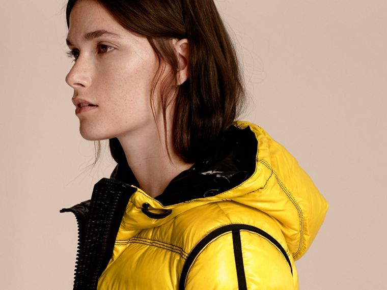 Cornflower yellow Glossy Hooded Puffer Jacket with Sporty Detailing - cell image 4