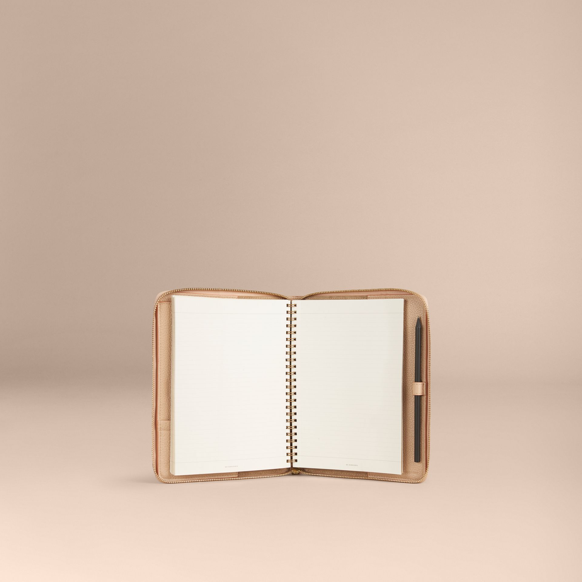 Pale apricot Ziparound Check-Embossed Leather A5 Notebook Pale Apricot - gallery image 5