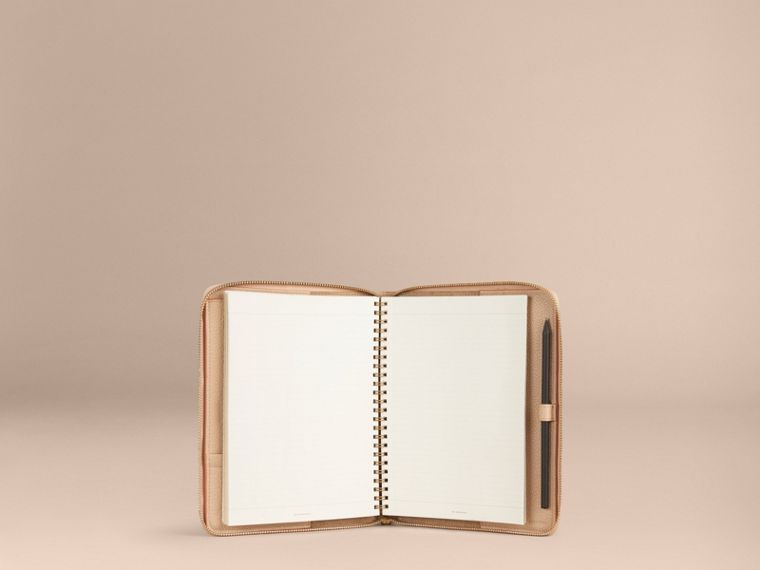 Pale apricot Ziparound Check-Embossed Leather A5 Notebook Pale Apricot - cell image 4