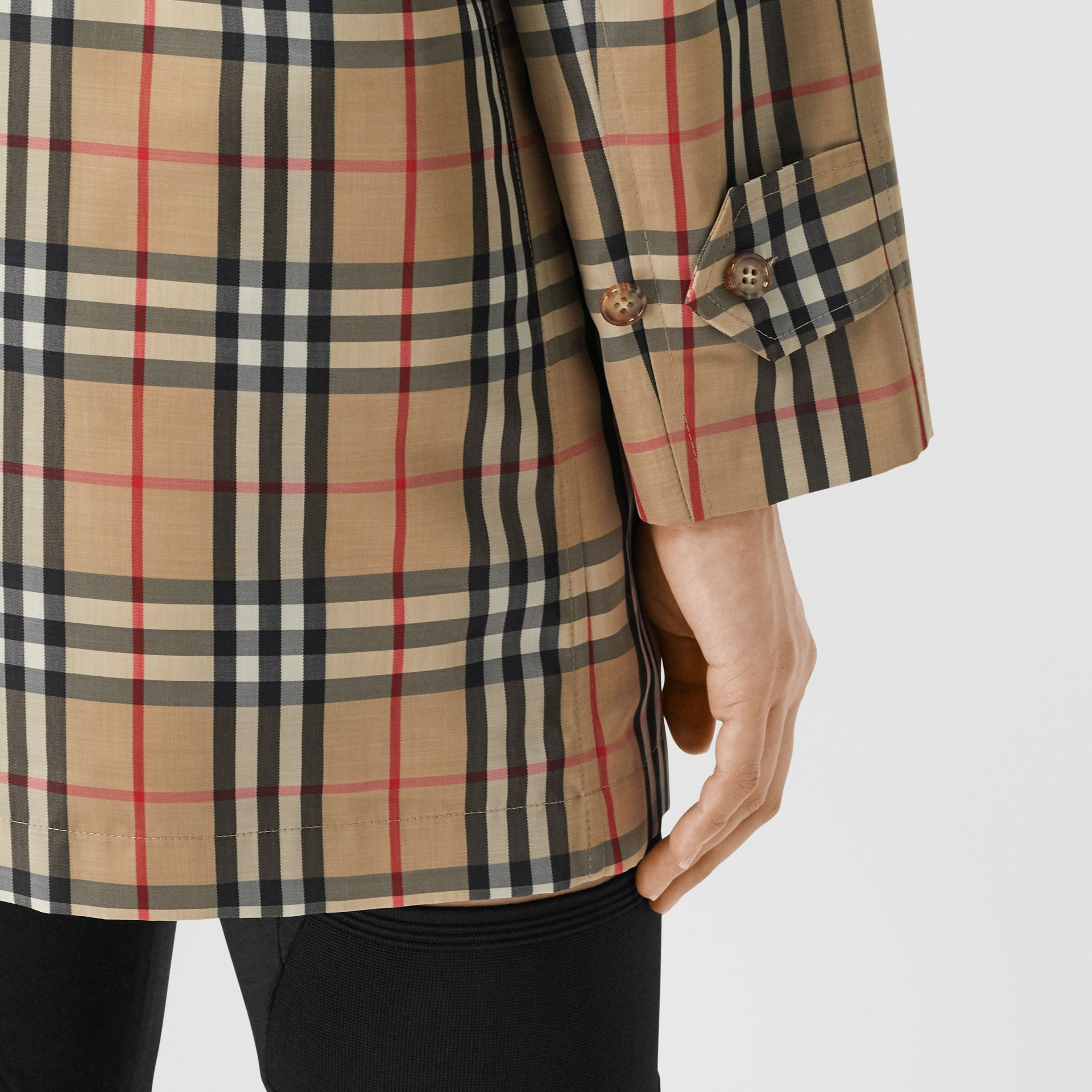 Vintage Check Recycled Polyester Car Coat in Archive Beige - Women | Burberry United States - gallery image 4