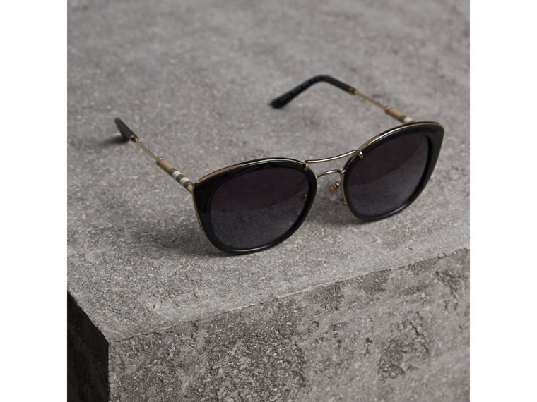 Check Detail Round Frame Sunglasses in Black - Women | Burberry Canada - cell image 2