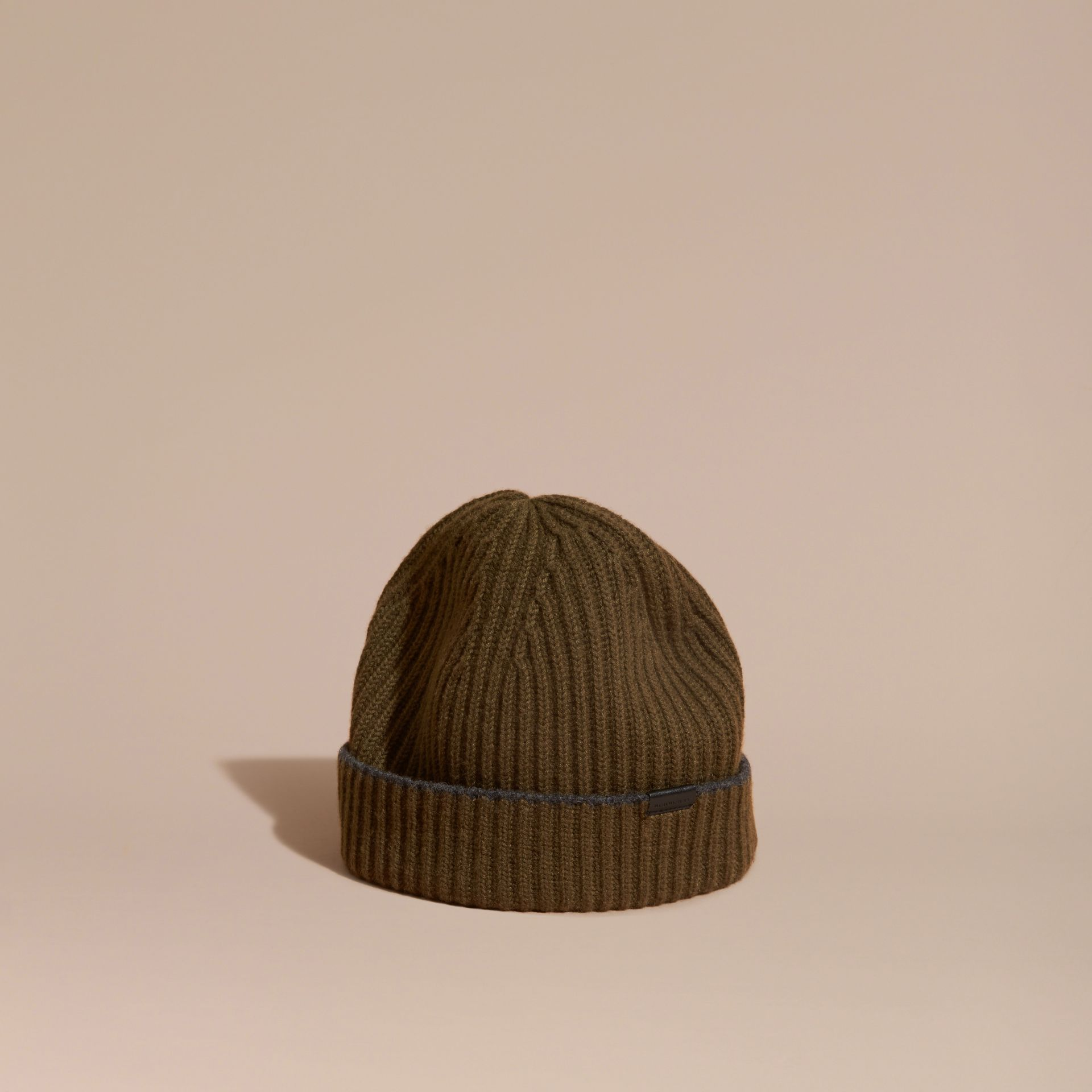 Ribbed Cashmere Beanie with Border Detail in Olive/charcoal - gallery image 1