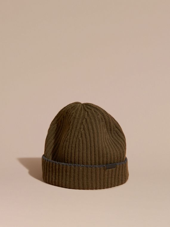 Ribbed Cashmere Beanie with Border Detail Olive/charcoal