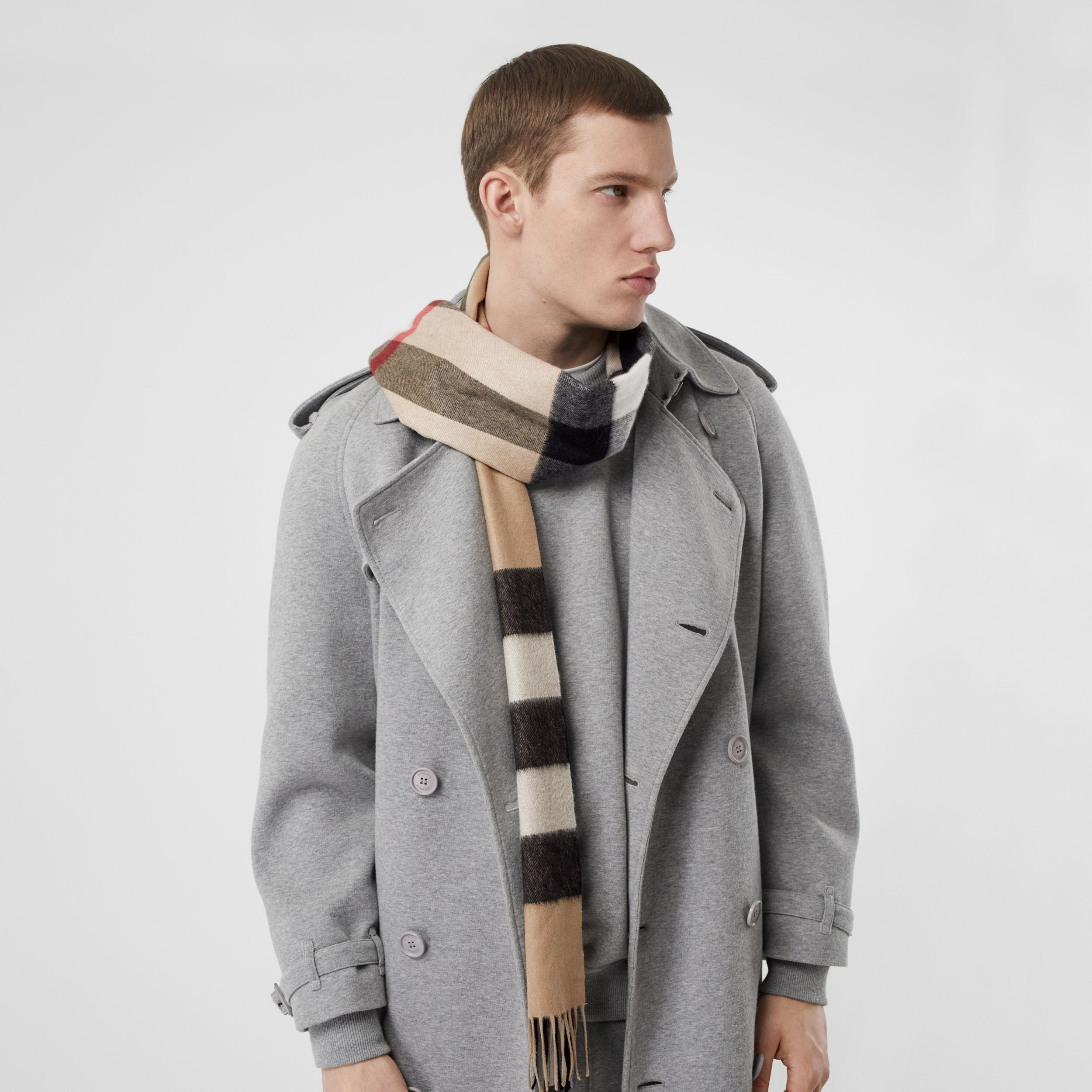 Check Cashmere Scarf in Archive Beige | Burberry United Kingdom - 4
