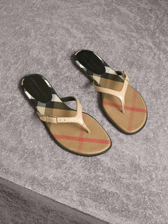 House Check and Patent Leather Sandals in Honey - Women | Burberry Singapore