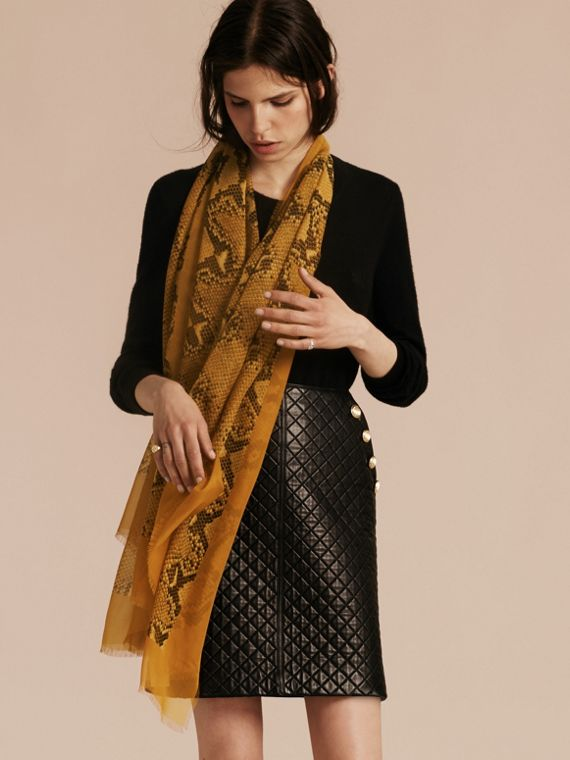Amber yellow Python Print Silk Scarf Amber Yellow - cell image 2