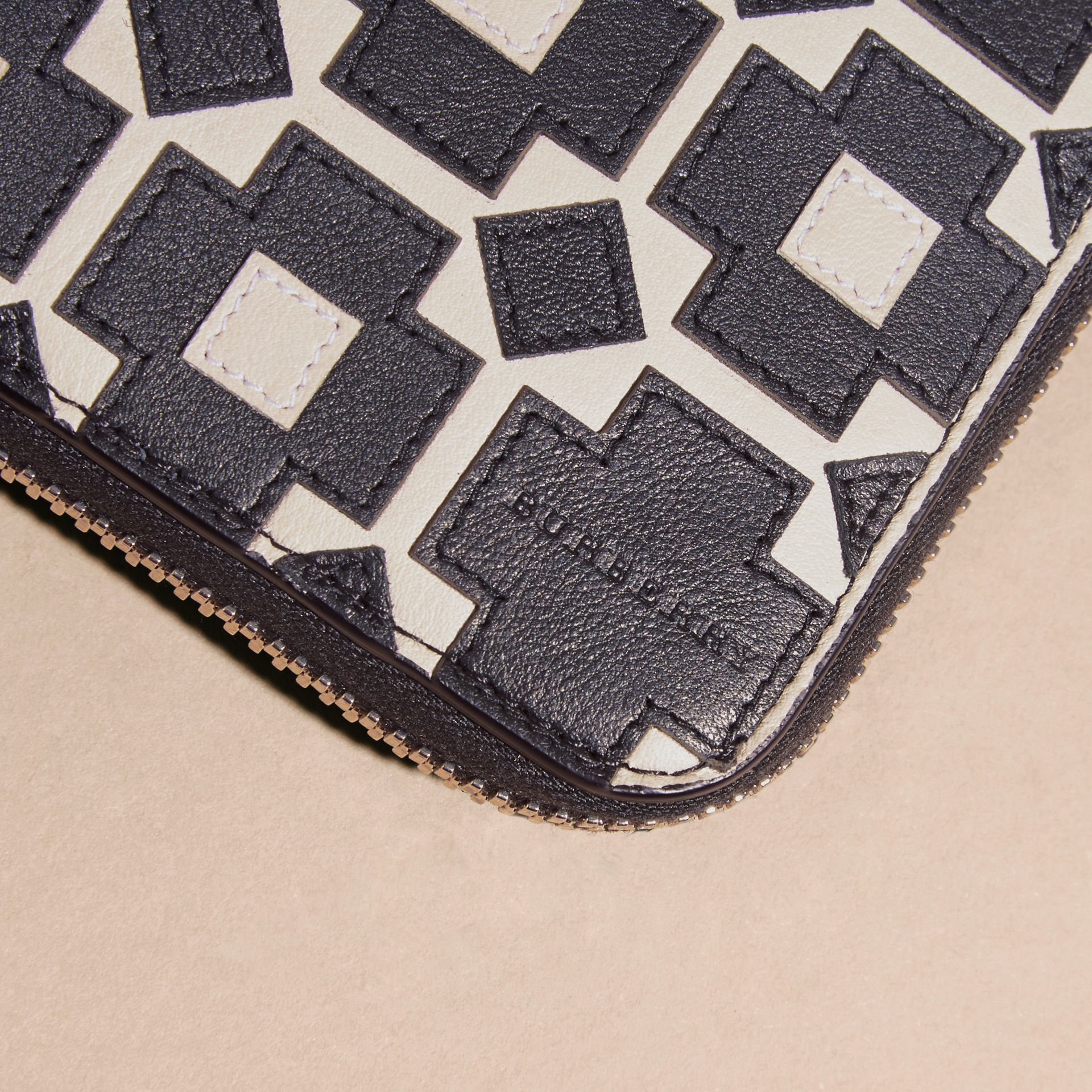 Stone Geometric Appliqué Leather Ziparound Wallet - gallery image 2