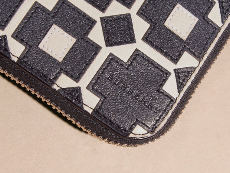 Stone Geometric Appliqué Leather Ziparound Wallet - cell image 1