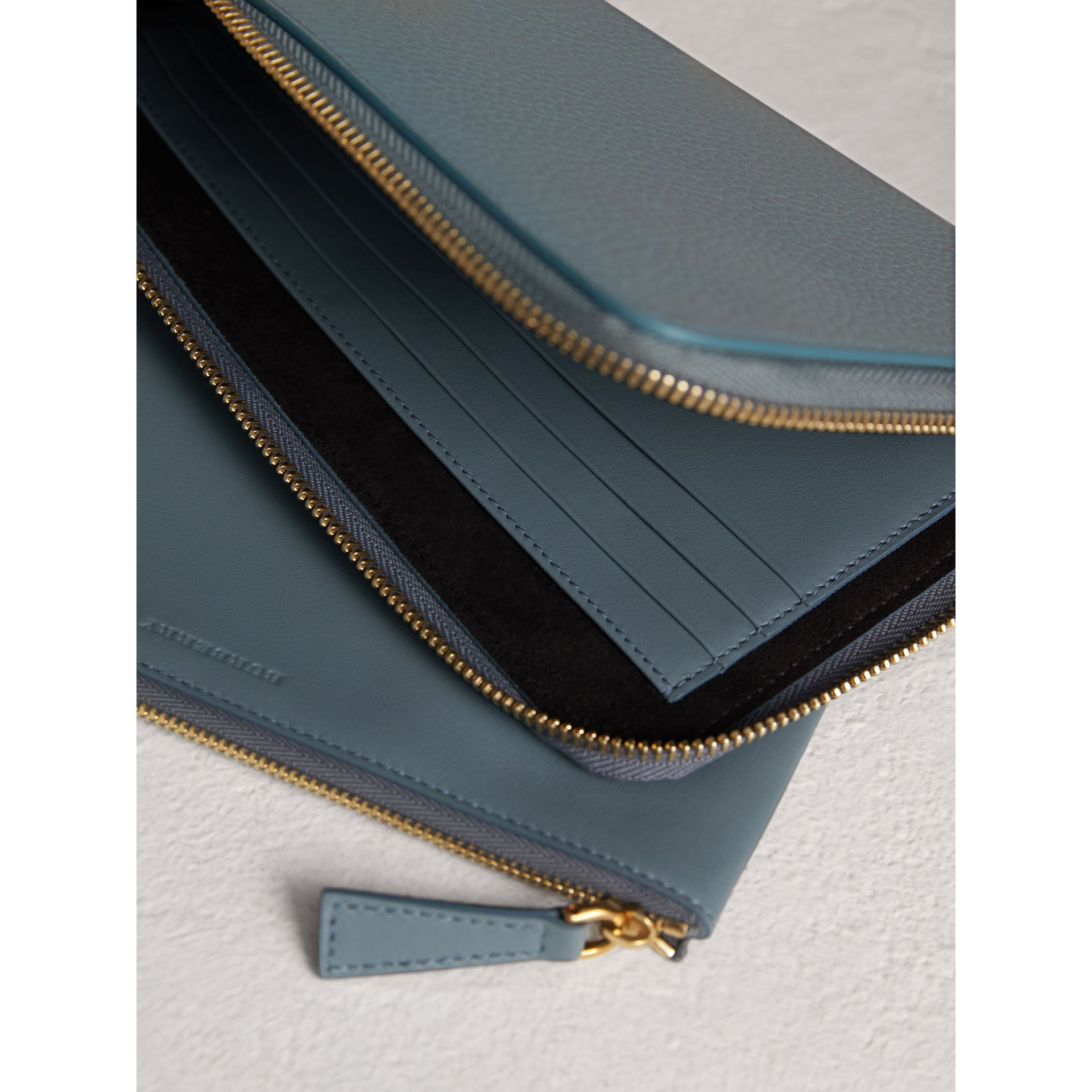 Embossed Leather Travel Wallet in Dusty Teal Blue | Burberry - gallery image 3