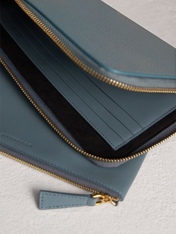 Embossed Leather Travel Wallet in Dusty Teal Blue | Burberry - cell image 3