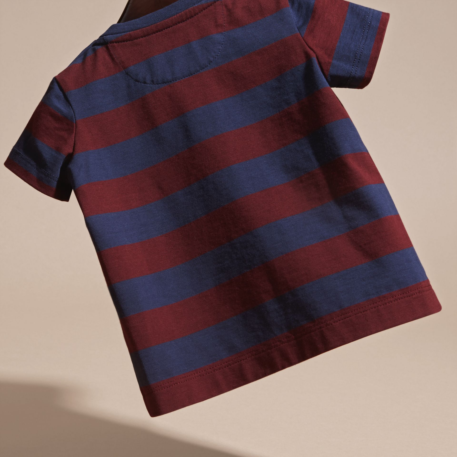 Burgundy red Striped Cotton T-shirt Burgundy Red - gallery image 4