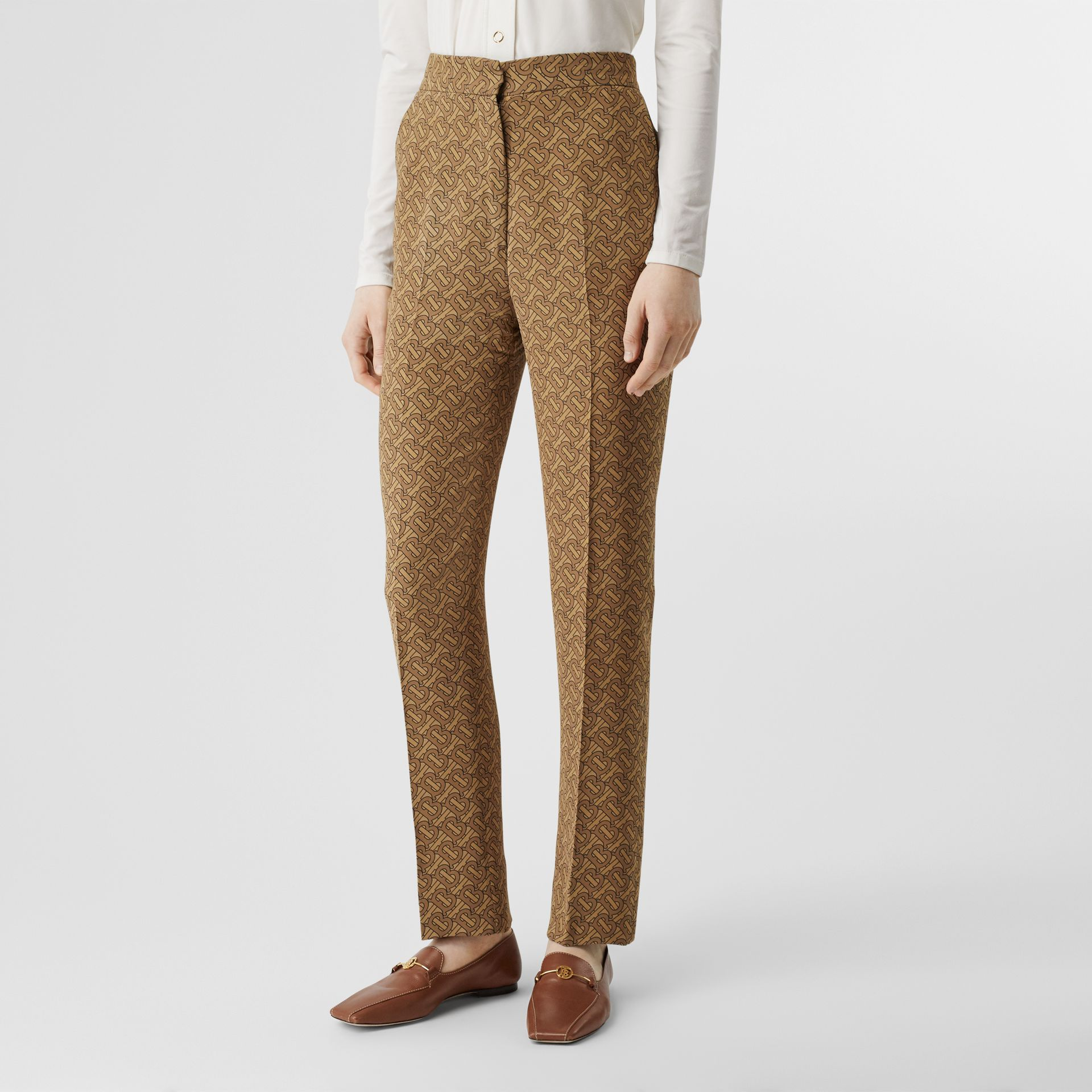 Monogram Print Silk Tailored Trousers in Tawny - Women | Burberry Singapore - gallery image 4