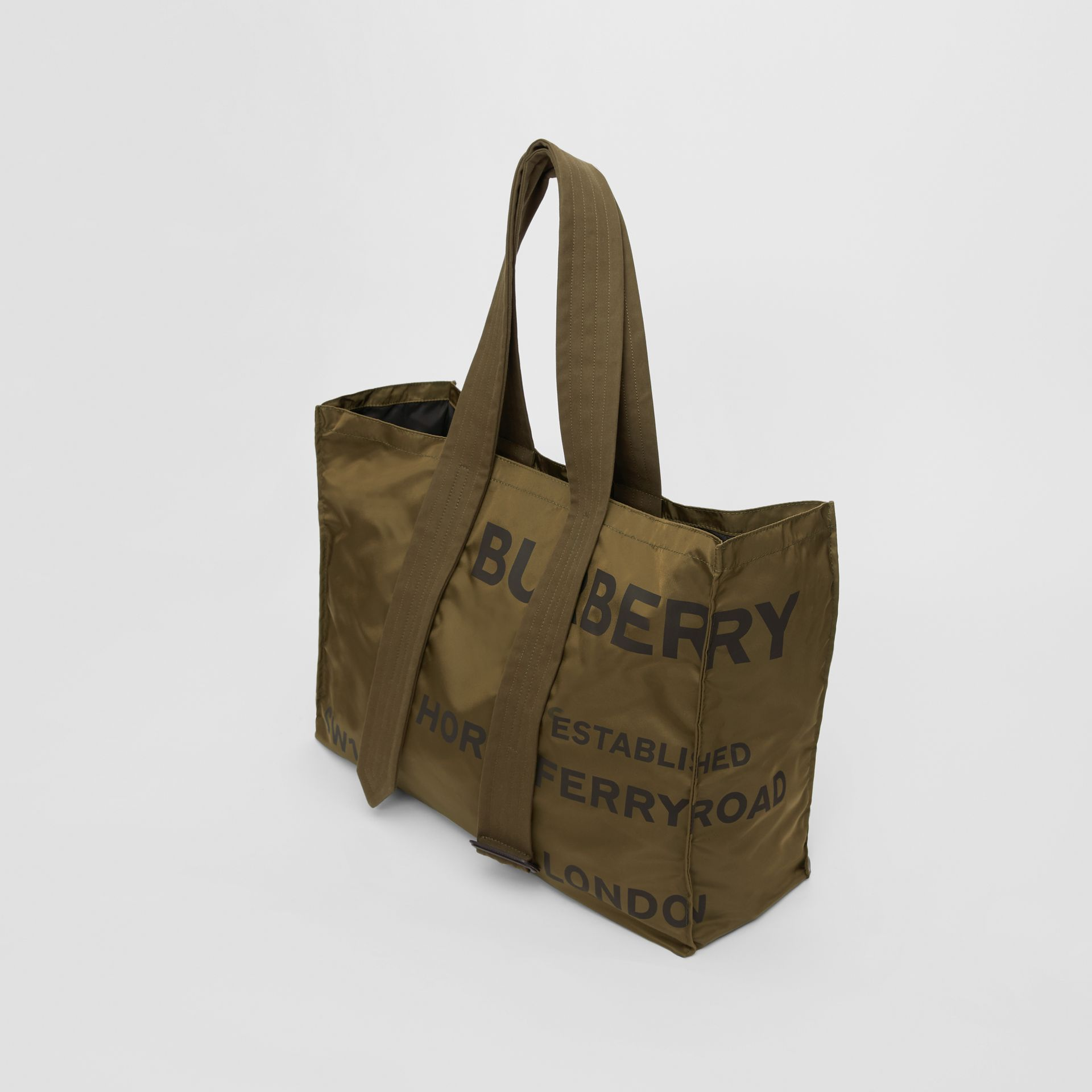 Belt Detail Horseferry Print Nylon Tote in Dark Military Khaki - Men | Burberry United States - gallery image 3