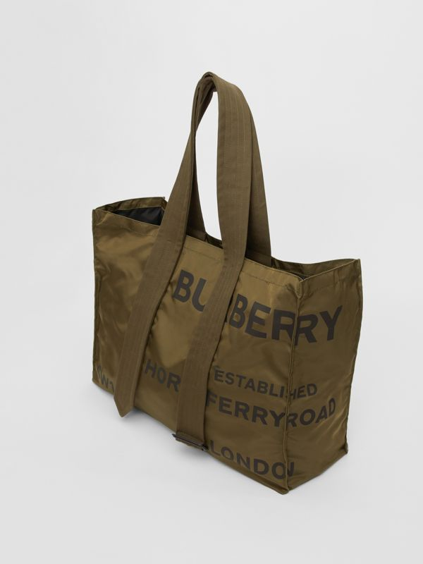 Belt Detail Horseferry Print Nylon Tote in Dark Military Khaki - Men | Burberry - cell image 3