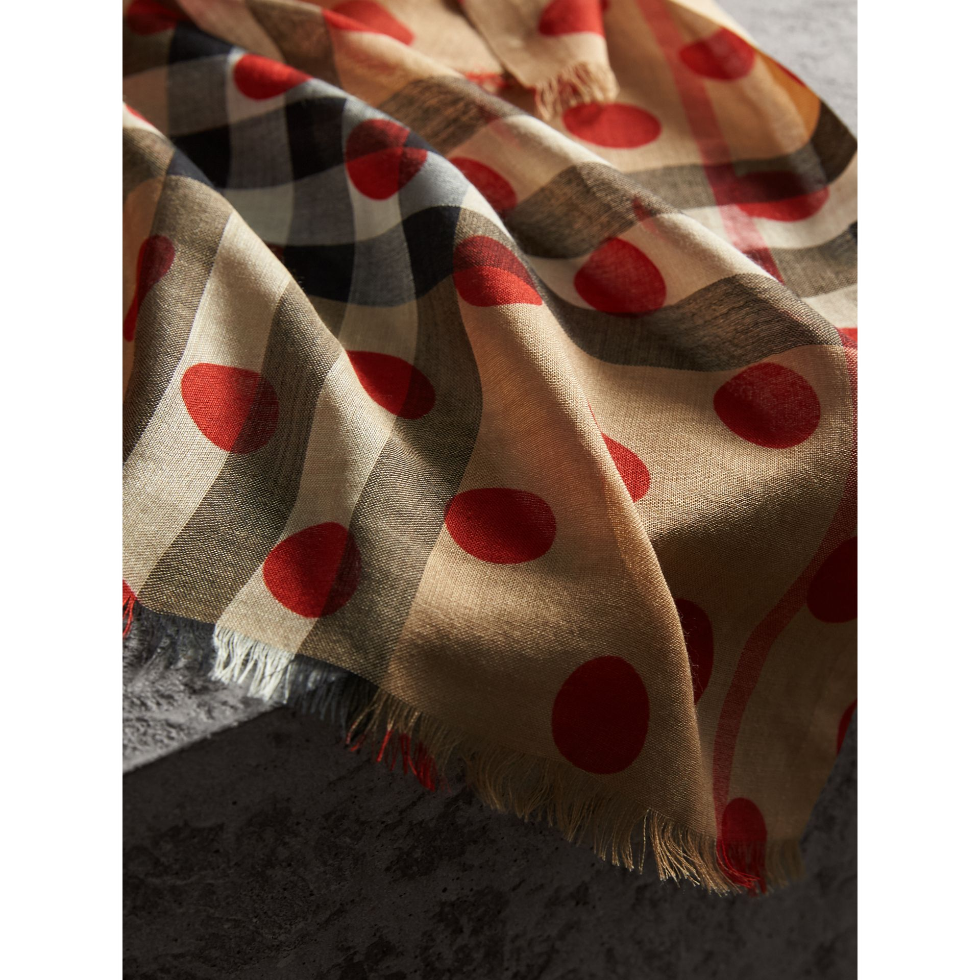 Spot Print and Check Lightweight Wool Silk Scarf in Military Red | Burberry - gallery image 2