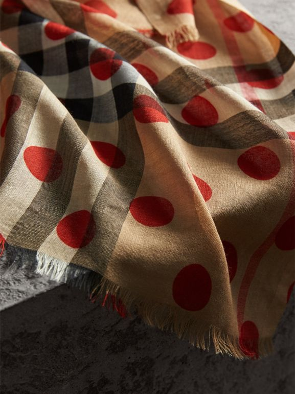 Spot Print and Check Lightweight Wool Silk Scarf in Military Red - Women | Burberry United Kingdom - cell image 1