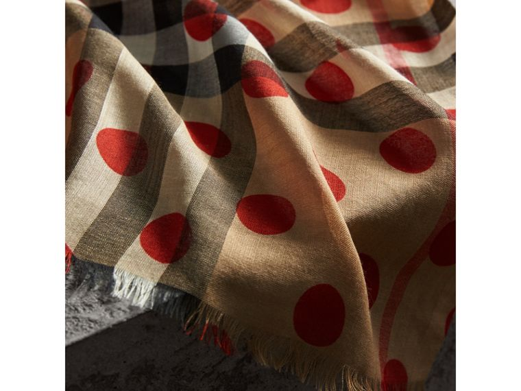 Spot Print and Check Lightweight Wool Silk Scarf in Military Red | Burberry - cell image 1