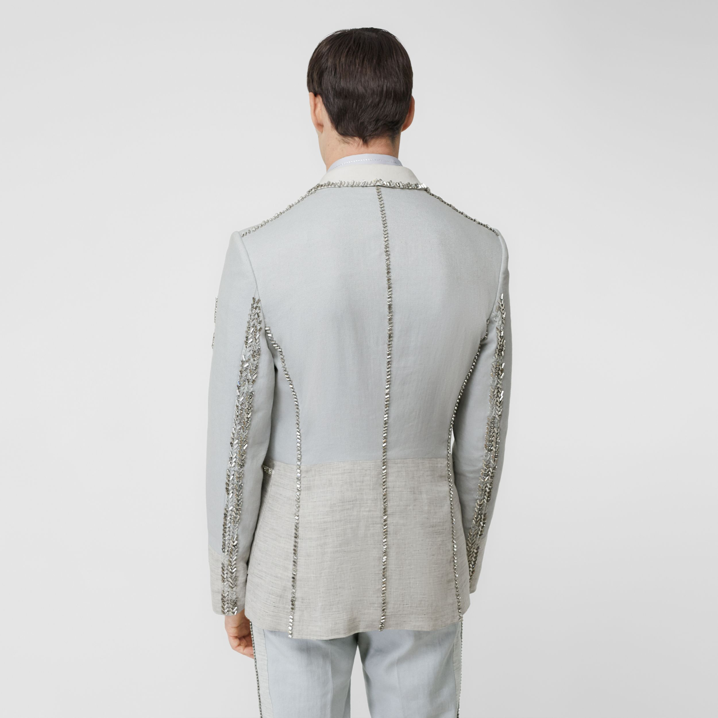 English Fit Crystal Embroidered Technical Linen Jacket in Light Pebble Grey - Men | Burberry - 3