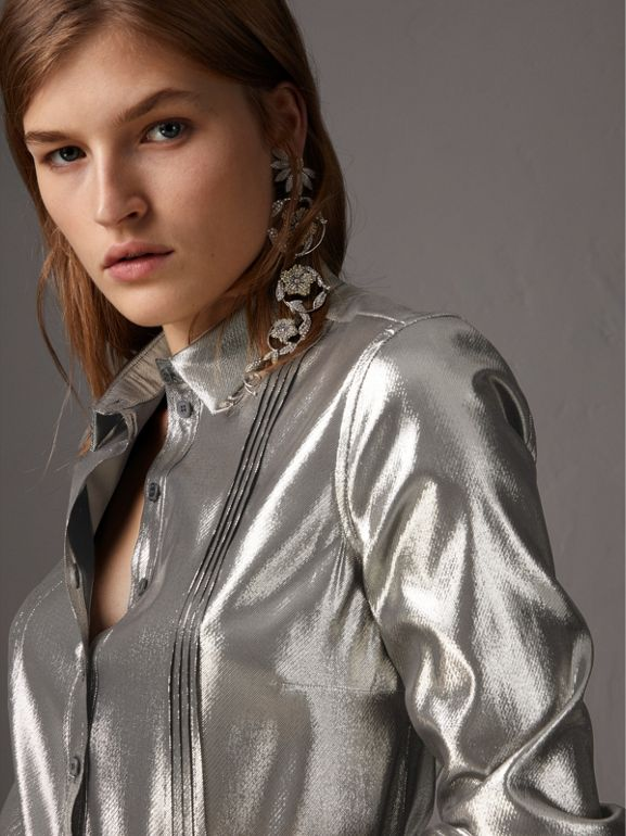 Pintuck Detail Silk Lamé Shirt in Silver - Women | Burberry - cell image 1