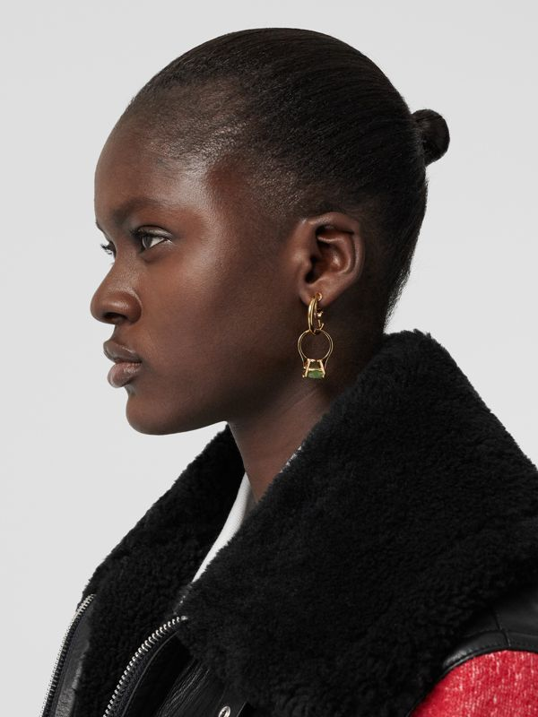 Crystal Ring Detail Gold-plated Hoop Earrings in Light Gold/jade - Women | Burberry - cell image 2