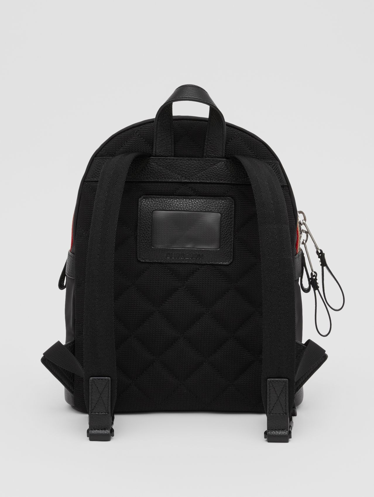 Logo Appliqué Icon Stripe Trim ECONYL® Backpack in Black