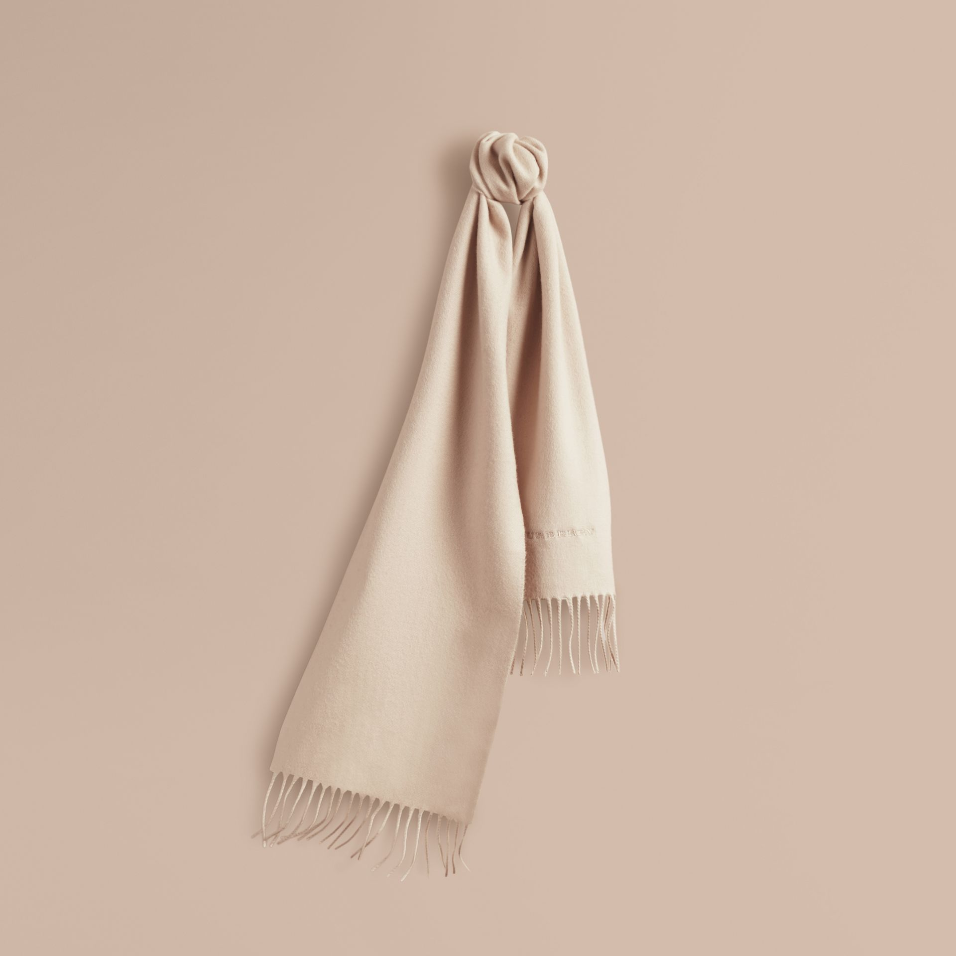 The Mini Classic Cashmere Scarf in Stone | Burberry - gallery image 5