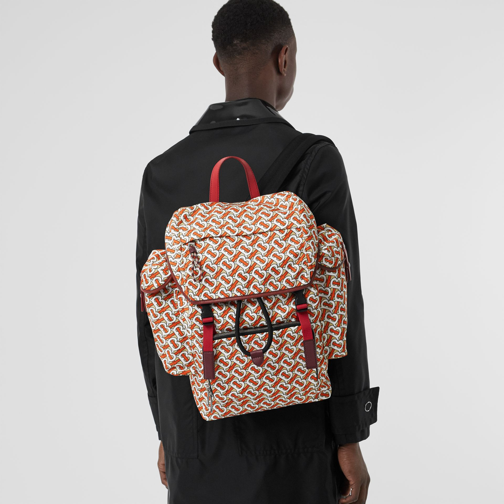 Medium Leather Trim Monogram Print Backpack in Vermilion - Men | Burberry - gallery image 2