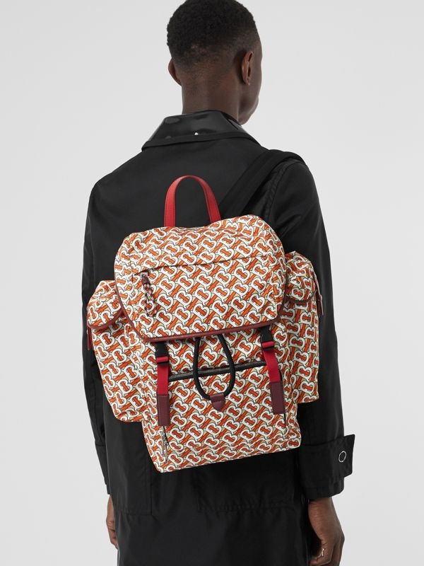 Medium Leather Trim Monogram Print Backpack in Vermilion - Men | Burberry United Kingdom - cell image 2