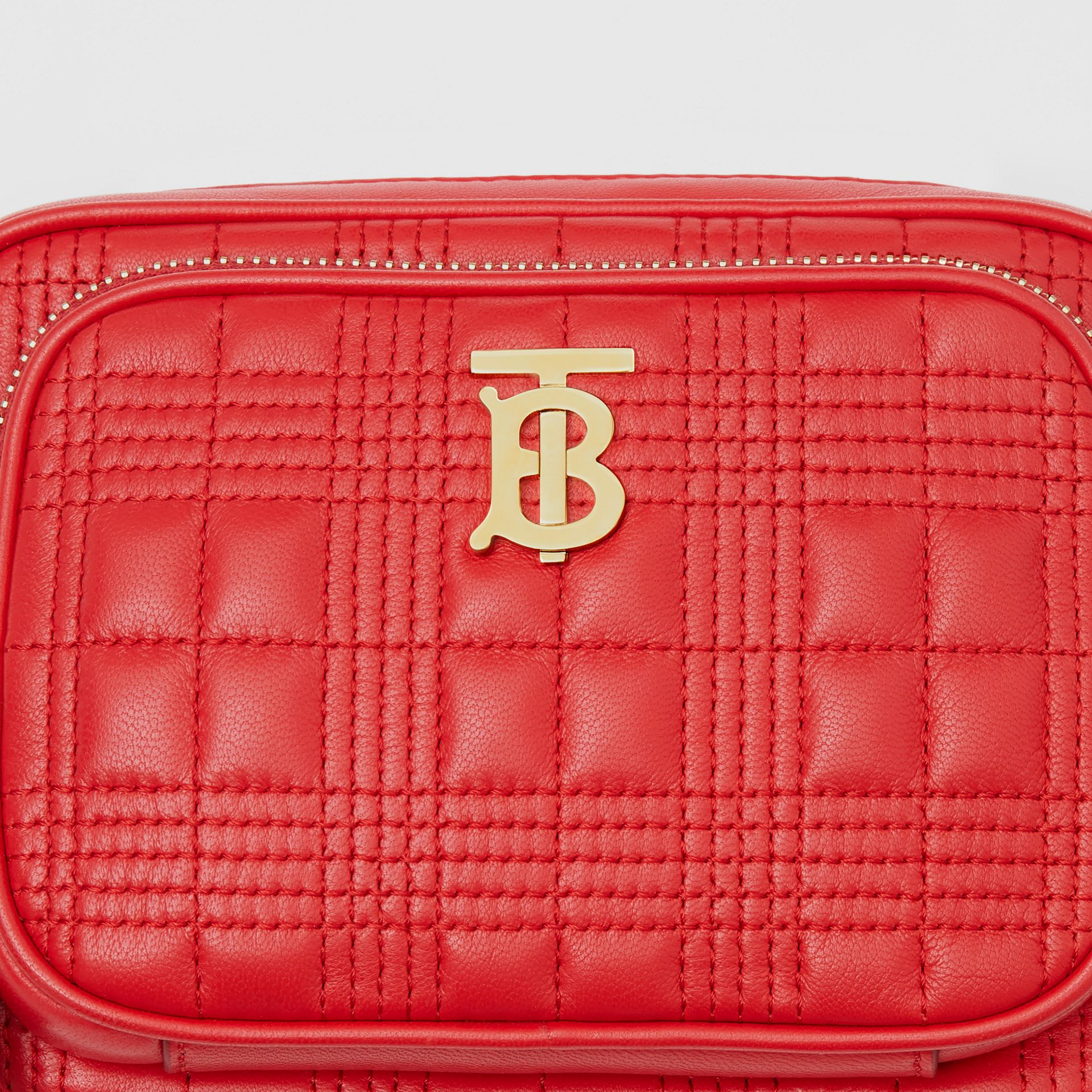 Small Quilted Lambskin Camera Bag in Bright Red | Burberry - gallery image 1