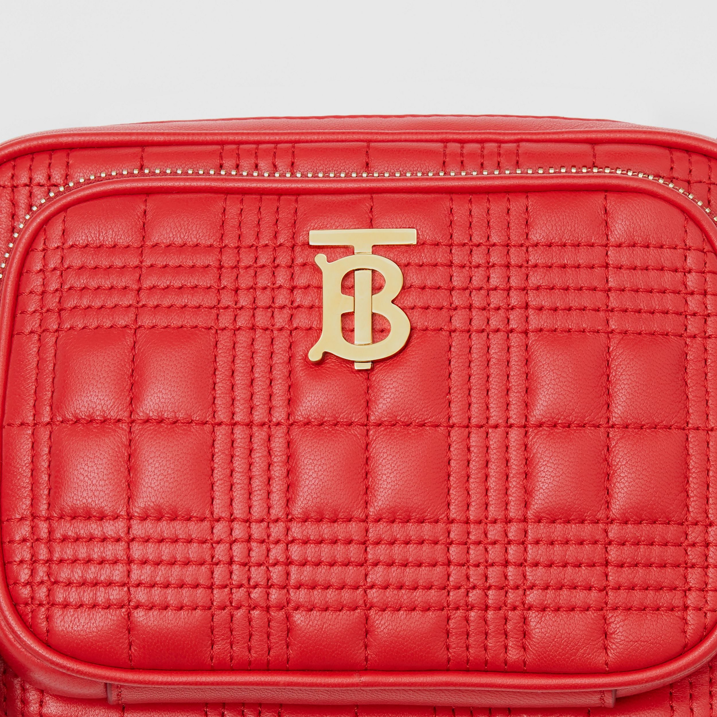 Small Quilted Lambskin Camera Bag in Bright Red | Burberry - 2