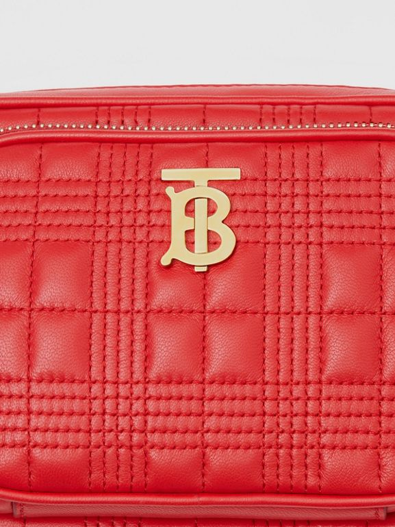 Small Quilted Lambskin Camera Bag in Bright Red | Burberry - cell image 1