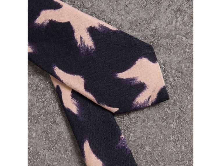 Slim Cut Bird Print Linen Cotton Tie in Navy - Men | Burberry Canada - cell image 1