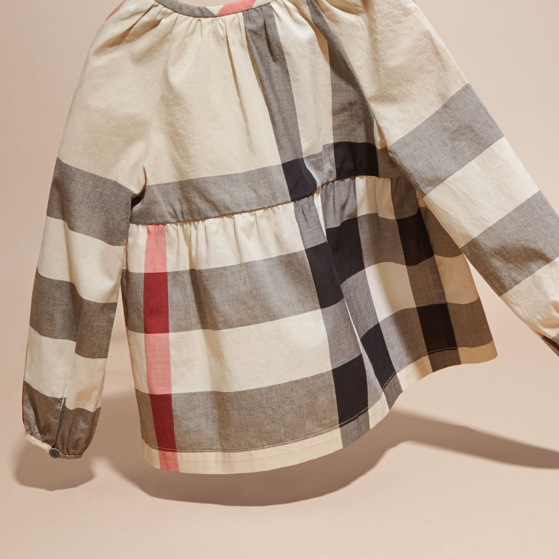 New classic check Puff Sleeve Check Cotton Blouse New Classic - gallery image 4