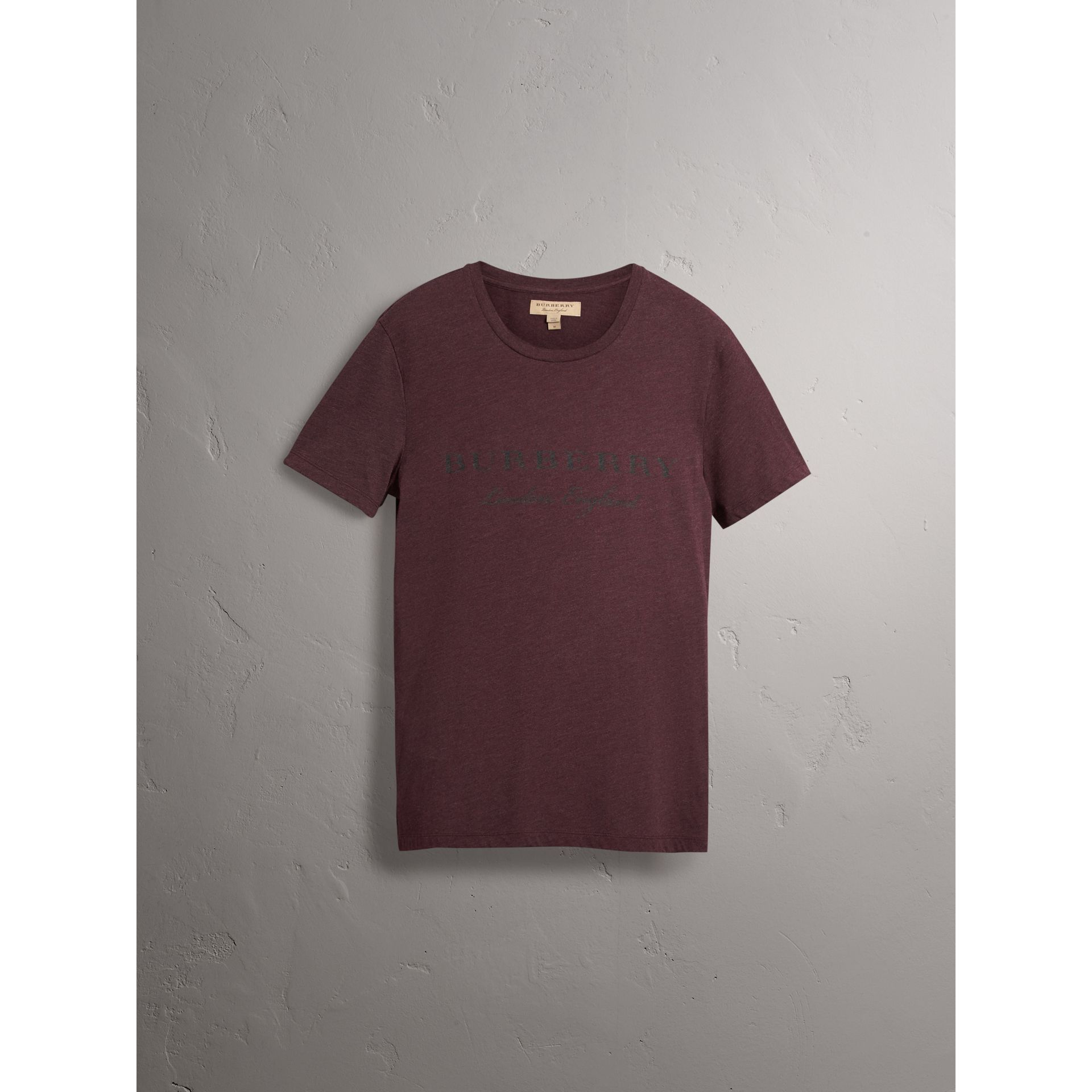 Devoré Cotton Jersey T-shirt in Deep Claret Melange - Men | Burberry United Kingdom - gallery image 3