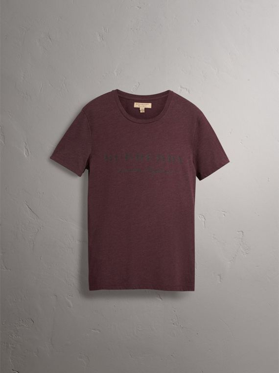 Devoré Cotton Jersey T-shirt in Deep Claret Melange - Men | Burberry United Kingdom - cell image 3