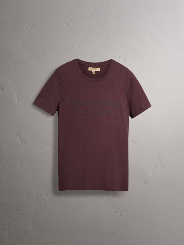 Devoré Cotton Jersey T-shirt in Deep Claret Melange - Men | Burberry - cell image 3