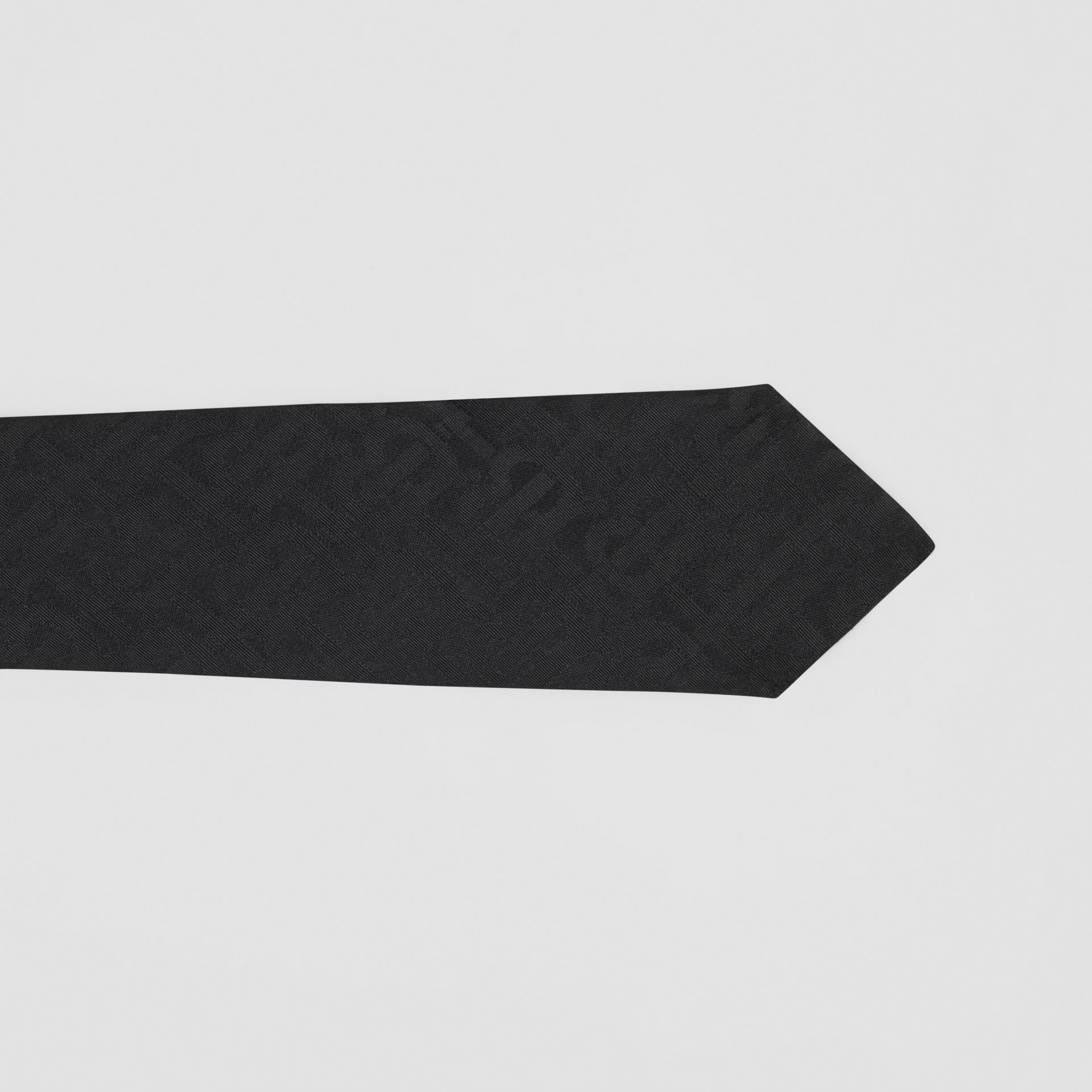 Classic Cut Monogram Silk Jacquard Tie in Black - Men | Burberry Australia - gallery image 1