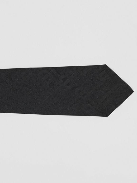 Classic Cut Monogram Silk Jacquard Tie in Black - Men | Burberry Australia - cell image 1