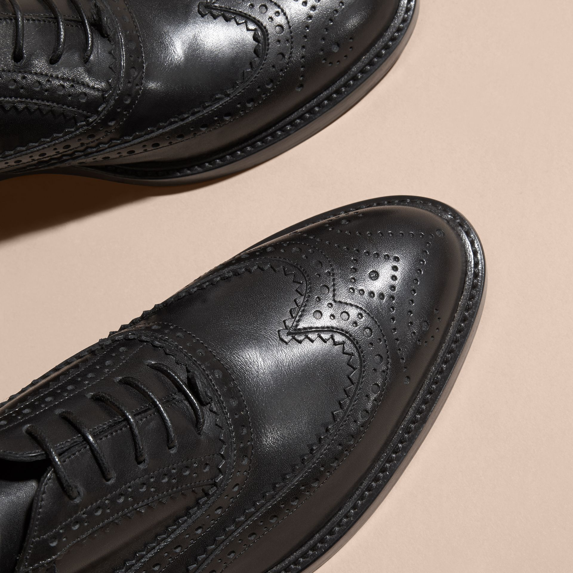 Black Leather Wingtip Brogues Black - gallery image 2