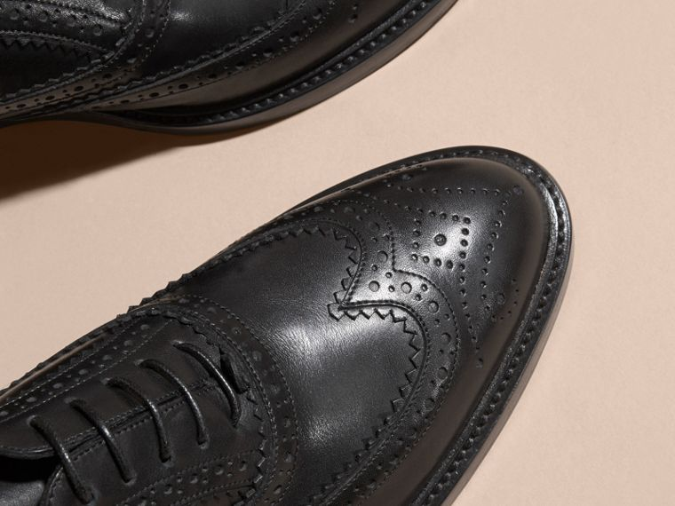 Leather Wingtip Brogues in Black - Women | Burberry - cell image 1