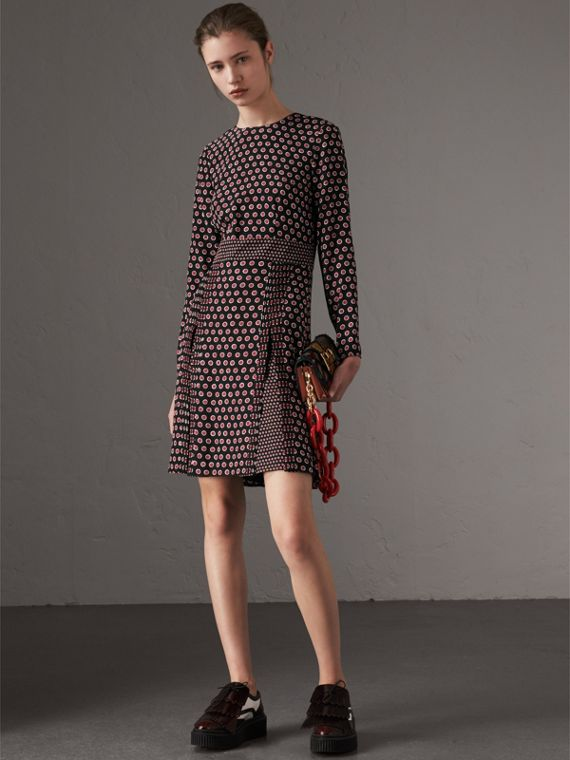Long-sleeve Spot Print Silk Dress in Parade Red