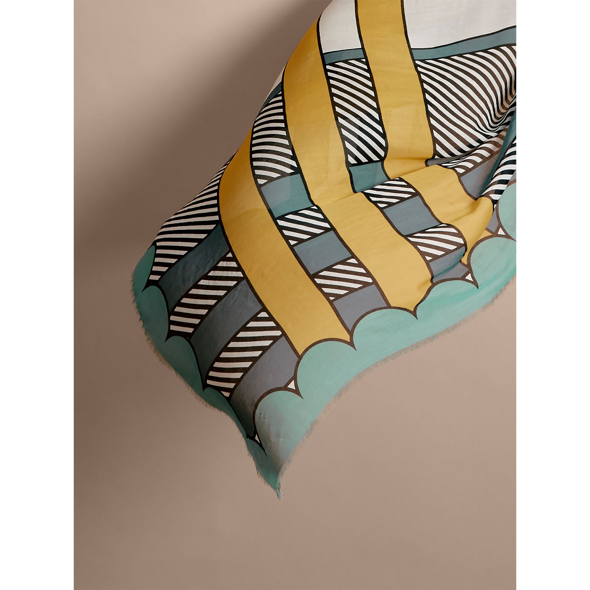Striped Exaggerated Check Cashmere Silk Scarf in Light Mint - Women | Burberry - gallery image 4