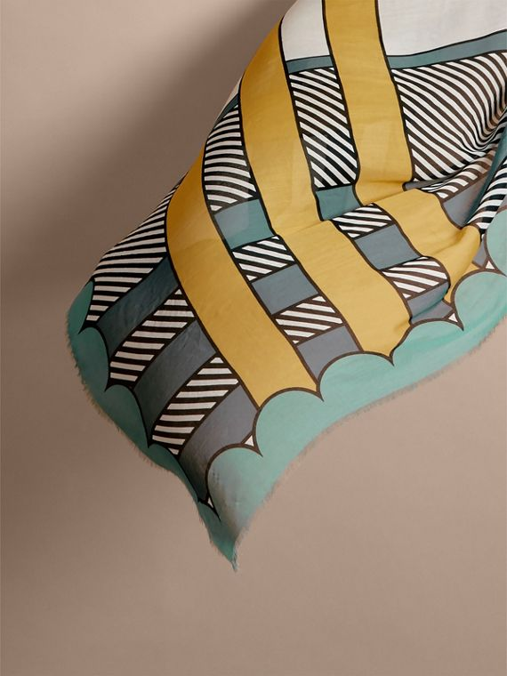 Striped Exaggerated Check Cashmere Silk Scarf in Light Mint - Women | Burberry - cell image 3