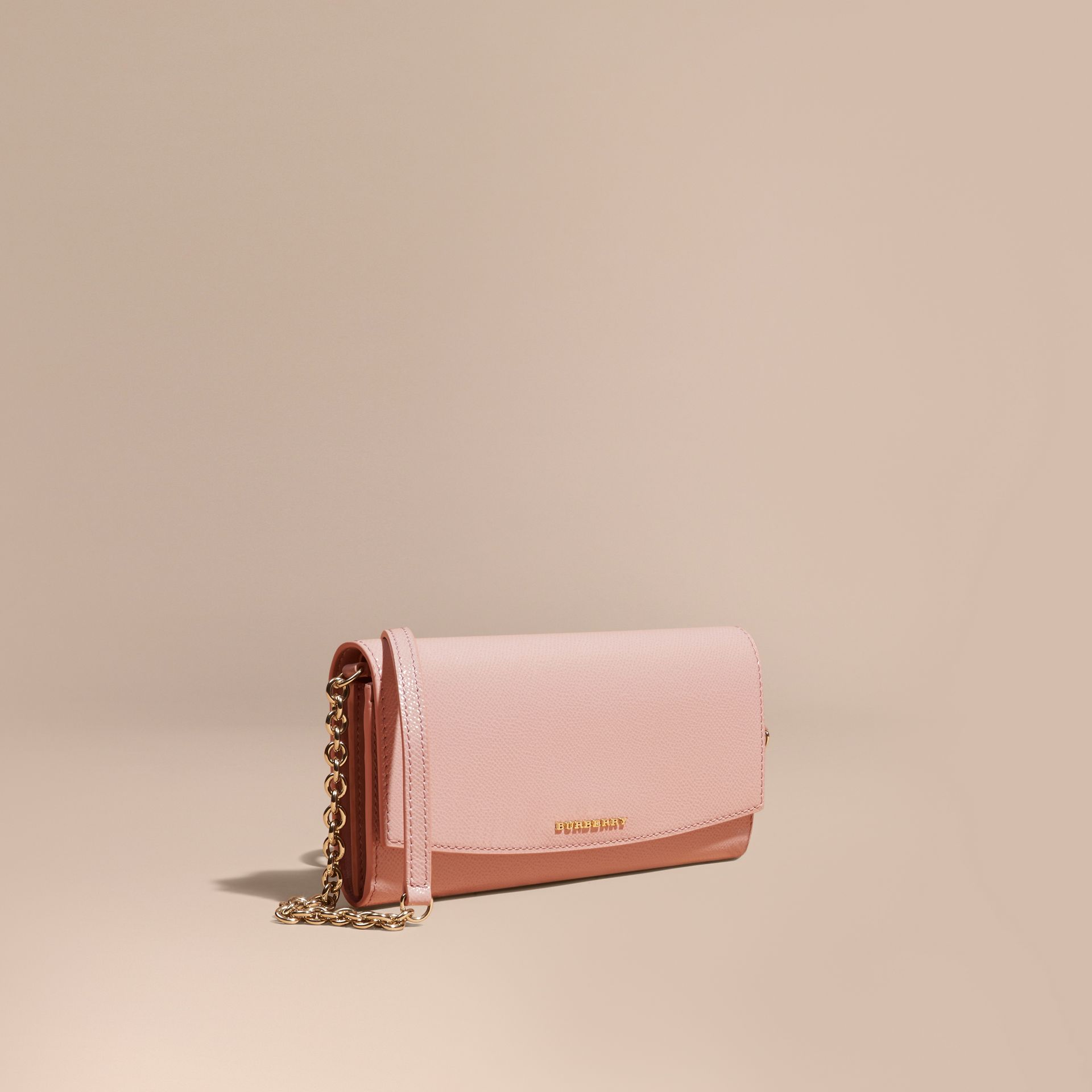 Leather Wallet with Chain in Ash Rose - gallery image 1