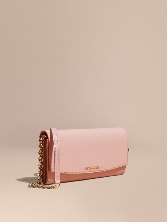 Leather Wallet with Chain Ash Rose