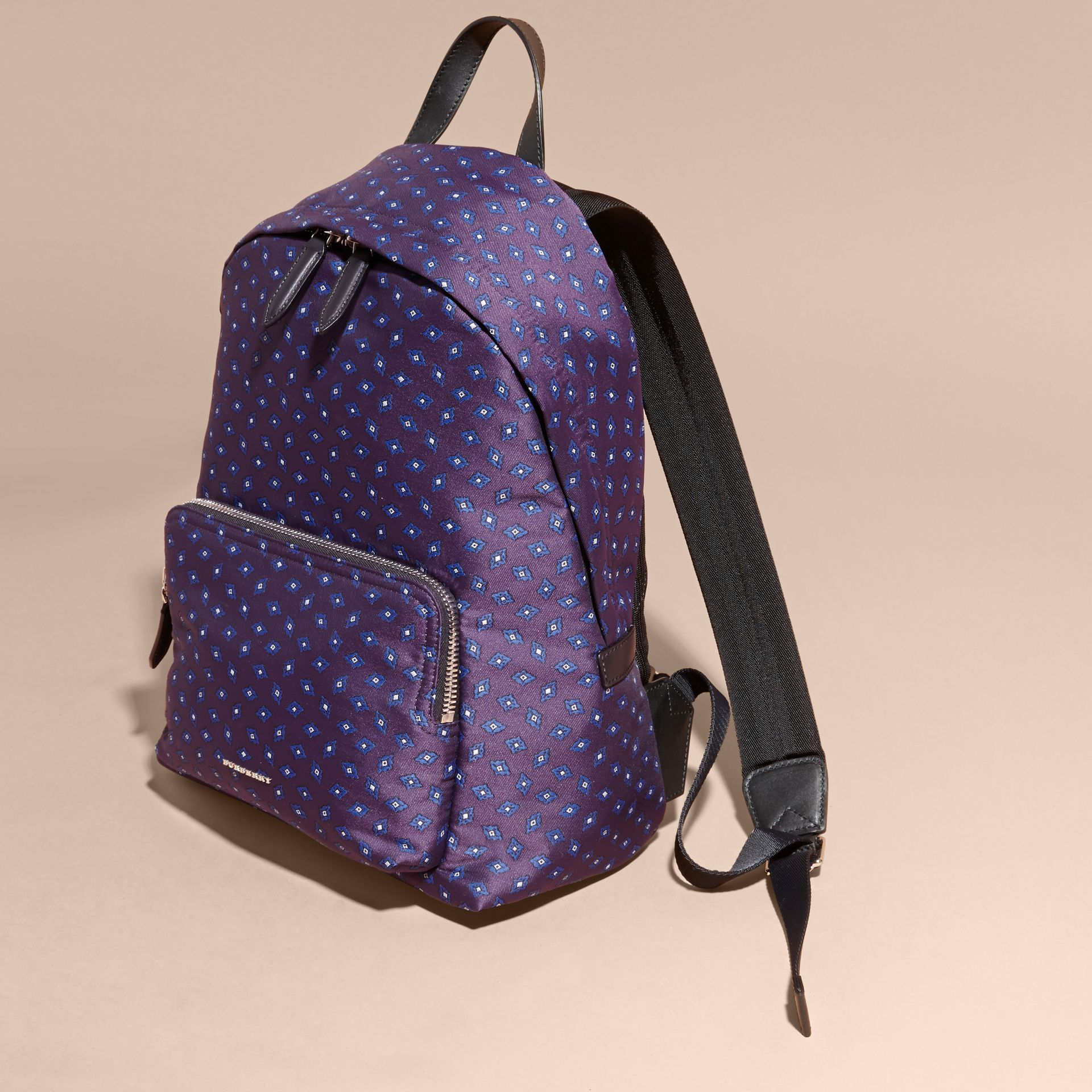 Deep aubergine Leather Trim Tile Jacquard Backpack - gallery image 7