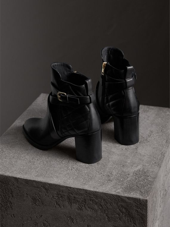 Strap Detail Quilted Leather Ankle Boots in Black - Women | Burberry Singapore - cell image 3