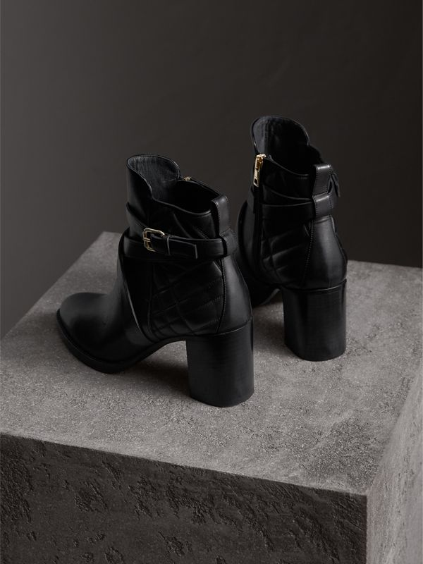 Strap Detail Quilted Leather Ankle Boots in Black - Women | Burberry - cell image 3
